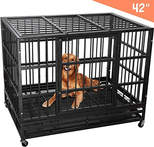 Lemberi Heavy Duty Dog Cage Crate, Pet Kennel Strong Metal for Training Large Dog, Easy to Assemble, with Two Prevent Escape Lock, Lockable Wheels, Removable Tray for Indoor Outdoor (42in, black1) Basic Crates