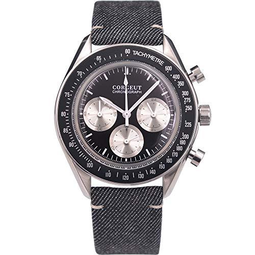 Herren-Armbanduhr, Quarz, Chronograph, schwarzes Zifferblatt, Edelstahl, modische Armbanduhr