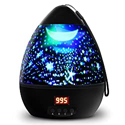 Star Sky Night Light, 360-Degree Rotating Star Projector, LBell Newest 8 Light Colors Romantic Room Cosmos Lamp with LED Timer Auto-Shut Desk Lamp for Kids Baby Bedroom, Christmas Gift(Black)