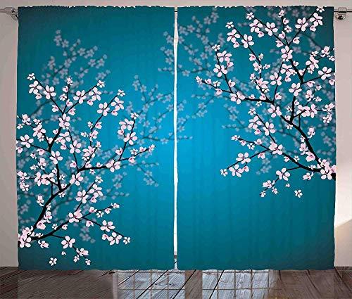 ABAKUHAUS japonés Cortinas, Patrón Sakura Bloom, Sala de Estar Dormitorio Cortinas Ventana Set de Dos Paños, 280 x 245 cm, Gasolina Azul pálido Rosa