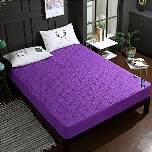 CYYyang Funda colchón Microfibra, elástica y Ajustable, Sábana Impermeable de Color Puro orina-púrpura_180 * 200cm