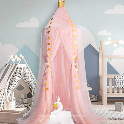 Dix-Rainbow Princess Bed Canopy Yarn Play Net for Kids Baby Bed, Children Round Dome Tent Indoor Outdoor Castle Hanging Decoration Reading Canvas Pink
