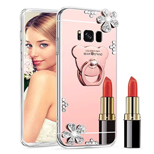ISADENSER Samsung Galaxy S6 Edge Plus Case Ultra-Slim Glitter Bling Diamond Mirror Makeup Soft Cover with Ring Stand Holder for Samsung Galaxy S6 Edge Plus, Rose Gold Flower Bear TPU with Stand Holder
