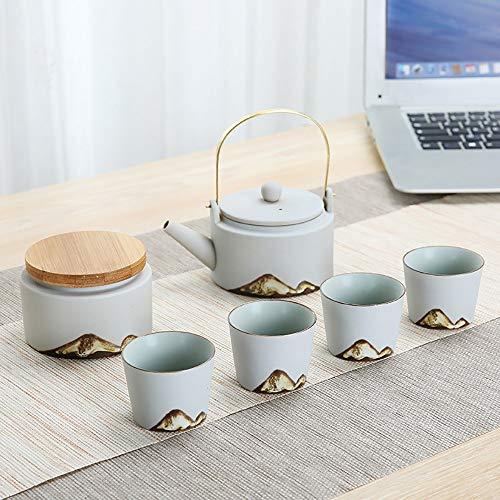 WH-IOE Tasse à thé et Soucoupe Set Peinture créative Montagne Glaze à thé Kiln Haute température de Combustion et la Main Dessiné élégant Motif Noir et Blanc pour Cadeau de Mariage