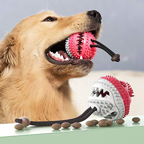 Dog Treat Ball hondenvoer Uitdelen tandverzorging Chew Toy, maakt een geluid,Red & white