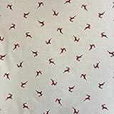 Hirsche rot Design Baumwolle Rich Leinen Look Stoff für