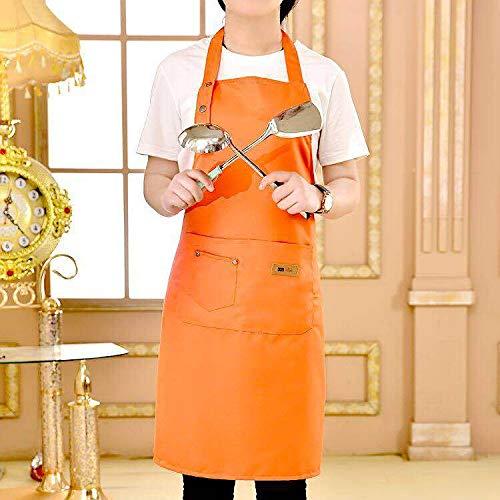 Sooiy Pure Color Cuisine Tablier de Cuisine pour Homme Femme Chef Waiter Café Boutique BBQ Coiffeur Tabliers de Cuisine Bibs Tablier,Orange