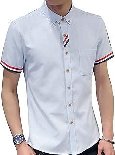 [Agree With(アグリーウィズ)] カジュアルシャツ トップス コットン ボタンダウン 半袖 ベーシックカラー メンズ