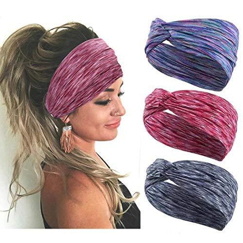 Handcess Yoga - Diademas anchas para el pelo para correr o para mujeres (3 unidades)