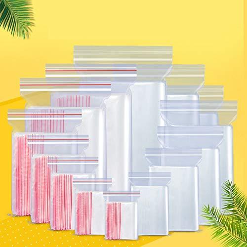 100 PCS Zip Bloqueo Ziplock Bolsos Bolsas de almacenamiento de alimentos Clear Almacenamiento Pequeño Embalaje de joyería Recosible Almacenamiento de vacío Bolsa de almacenamiento fresco 0.05mm