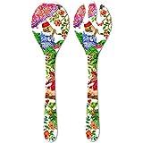 Les Jardins de la Comtesse - Cubiertos de Ensalada de Servicio de Melamina Pura - Monos de Bali - 33 cm - Coral Rojo y Verde - Set de Cuchara y Tenedor de la Colección Vajilla Irrompible MelARTmine