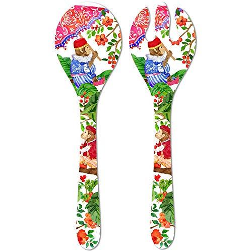 Les Jardins de la Comtesse - Couverts à Salade de Service en Mélamine Pure - Singes de Bali - ∅ 33 cm - Rouge Corail et Vert - Couverts de Table - Collection de Vaisselle Quasi-Incassable MelARTmine