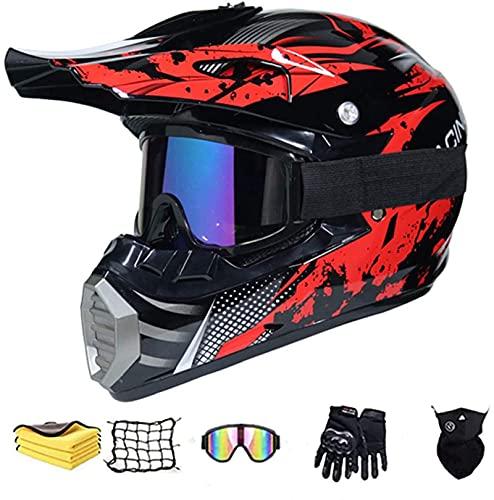 Motorradhelm Motocross Crosshelm mit Brille Visier,Kinder Rot Schwarz Fullface Helm Offroad Downhill Endurohelme Motocross Dirt Bike Motorrad BMX MX Downhill Offroad Helm (M)