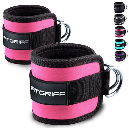 Fitgriff® Tobillera para Polea (Acolchado)- 2 Piezas Correas Tobillos Gym Cable Maquinas, Gimnasio, Fitness - Mujeres y Hombres - Pink