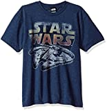Star Wars Boys' Big Millenium Falcon Sunset Logo Graphic Tee, Navy Heather, YL