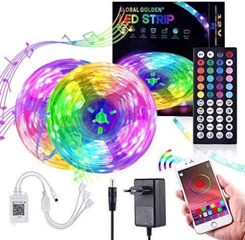 RGB LED Strip 10m LED Lichterkette 2x5m Smart APP Steuerung und Fernbedienung 44 Tasten mit Bluetooth Kontroller Sync zur Musik für Zuhause, Schlafzimmer, TV, Schrankdeko, Farbwechsel