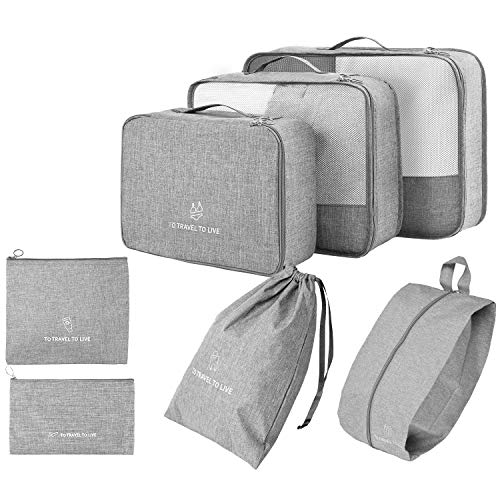 Packing Cubes for Suitcases 7 Set, TuTuShop Luggage Packing Organizers with Shoe Bag and Toiletry Bag (Grey)