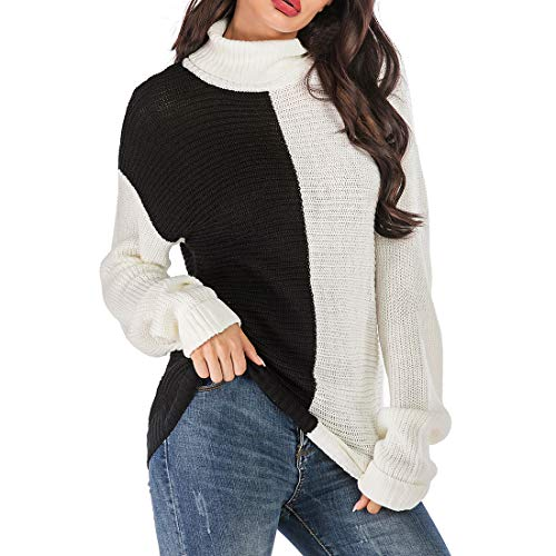 Womens Sweaters Turtleneck Knit Pullovers Warm Casual Jumpers Long Sleeve Stylish Color Block Patchwork Autumn Winter Knitted Tops Loose Comfy Knitwear M