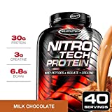 NitroTech Protein Powder Plus Creatine Monohydrate Muscle Builder,...