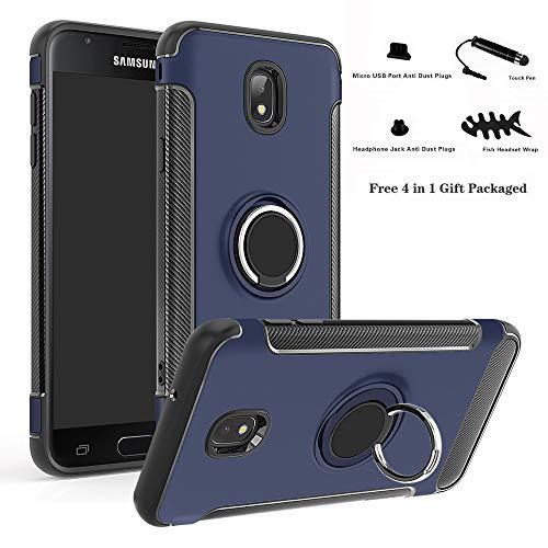 Labanema Galaxy J7 2018 Funda, 360 Rotating Ring Grip Stand Holder Capa TPU + PC Shockproof Anti-rasguños teléfono Caso protección Cáscara Cover para Samsung Galaxy J7 2018 - Azul