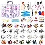 de accesorios para la fabricación de joyas, 2450 piezas de pendientes y herramientas de reparación con cuentas para joyas, cuentas,colgantes para niños, pulseras de collar para hacer manualidades