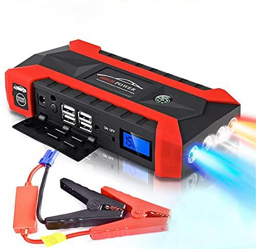 Arrancador de emergencia portátil para coche, 20.000 mAh, multifunción, 12 V, fuente de alimentación portátil, 4 cargadores USB, batería externa con luces LED