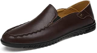 HaiNing Zheng Driving Loafers for Men Boat Shoes Slip On Synthetic Leather Elastic Bands Super Flexible Experienced Stitched Lightweight Round Toe (Color : Brown, Size : 7.5 UK)