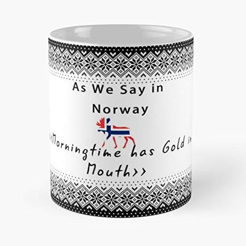 FISHOP Norwegian Jodel We Norway As Woolen Proverb Sayings Text Sweater In Say Funny Best Mug hält Hand 11oz aus weißer Marmorkeramik