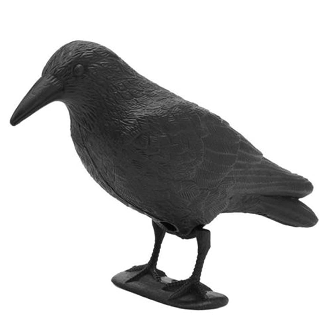 MEIBY Crow Decoy, 1pc Flocked Hard Plastic Crows Full Body While Rook Raven Decoys Crow Shooting Hunting inc Feet & Stakes for Hunting Shooting Stand