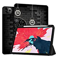 MAITTAO Case For iPad Pro 11 inch 2nd Generation 2020 Release with Apple Pencil Holder, Soft TPU Back Shell Stand Smart Cover For iPad Pro 11 Case Tablet Sleeve 2 in 1 Bundle, Creative Bulb 13