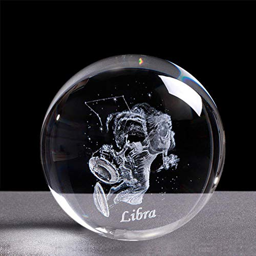 Preisvergleich Produktbild Künstliche Rose Geschenk 3D 12 Sternbilder Kristallkugel Sternzeichen Gravierte Glaskugel 60 / 80Mm Kristallkugel Geburtstagsgeschenk Weissagung Dekor Ornament,  Waage,  60 Mit Kristallbasis