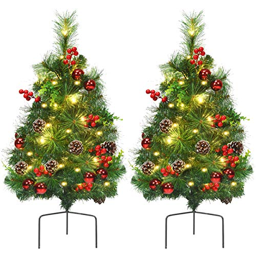 Goplus Set of 2 Pathway Christmas Trees, 2FT Pre-Lit Artificial Xmas Trees with 30 Warm White LED Lights & Ornaments, National Pine Trees for Outdoor Decoration, Battery Powered
