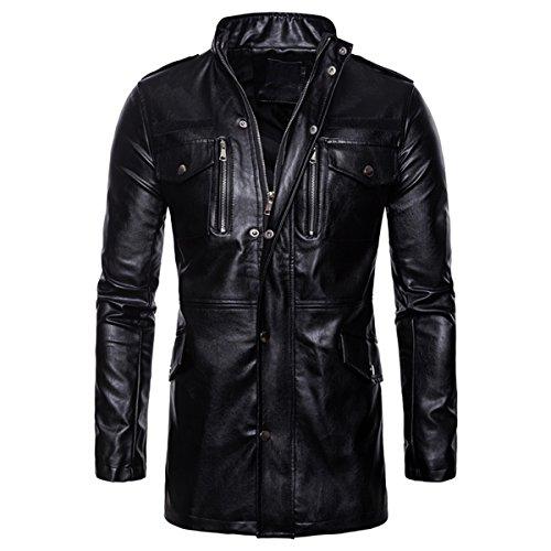AoWOFS heren kunstlederen jas casual faux lange leren jas motorfiets lederen mantel met ritssluitingen