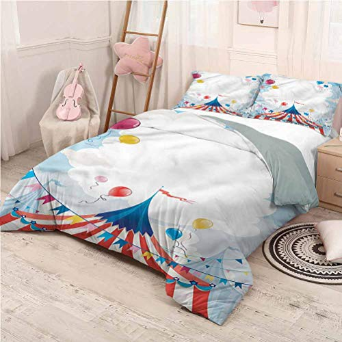 Circus Bed Sheets Set Twin, Microfiber Sheet Set 3 Piece Bed Sheets Circus Day Canvas Tent Printed Bedding - Twin 68'x90'