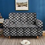 3D Imprimir Funda de Sofá Elástica Funda Sofá Gruesa Antideslizante, Cubierta Sofa Muebles con Cuerda de Fijación Antideslizante Protector de Muebles (Cuero sintético Negro, 3 Plazas )