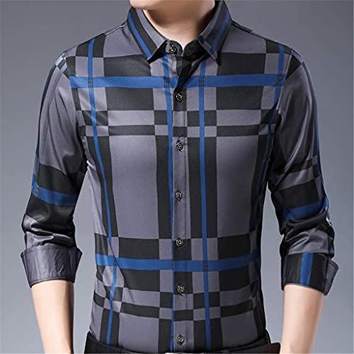 SLATIOM Camisa a cuadros de manga larga ajustada para hombre Ropa de calle Vestido social Camisas vintage Moda...