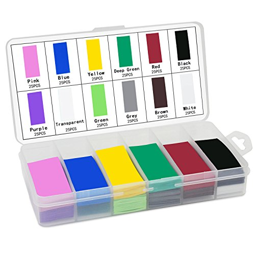 KEESIN 29.5mm Flat PVC Calor Tubo retractil Envoltura de la batería 12 Colores 300 Piezas para 18650 18500 Batería