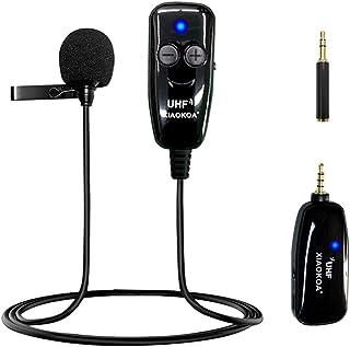 XIAOKOA Micrófono Inalámbrico de Solapa,UHF Micrófono Inalámbrico de Solapa,50 m de Transmisión Inalámbrica,Grabación de S...