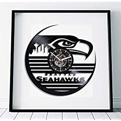 Kovides Seattle Seahawks Wall Art Sport Gift Lp Retro Vinyl Record Wall Clock Modern American Football Clock Handmade Art Seattle Seahawks Clock Birthday Gift Idea For Boy Sport Art Wall Clock Vintage