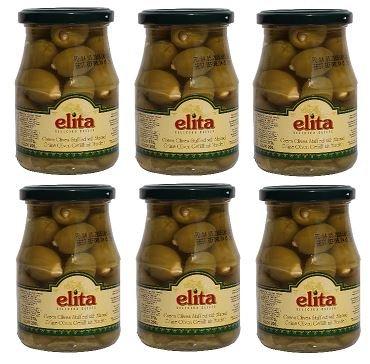 6x griechische grüne Oliven gefüllt mit Mandeln im Glas a 200g gesamt 1200 g Abtropfgewicht green olives olive aus Griechenland + Probiersachet 10 ml Olivenöl aus Kreta