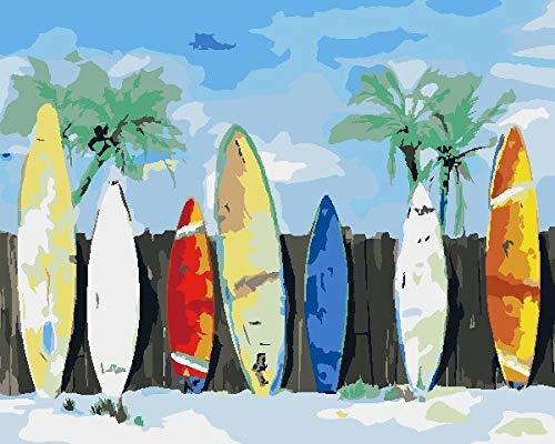 XNXQX Pintar con Numeros Adultos Kit Tabla De Surf Colorida De Playa DIY Pintura Al Óleo Pintar por Numeros 40X50 Cm con Pinturas Acrílicas Y 3 Pinceles Decoracion De Pared Regalos(Sin Marco)