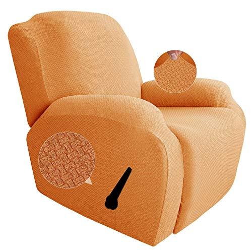 GEBIN Jacquard Sesselbezug, Sesselschoner, Stretchhusse Für Relaxsessel Komplett, Elastisch Bezug Für Fernsehsessel Liege Sessel (Orange)