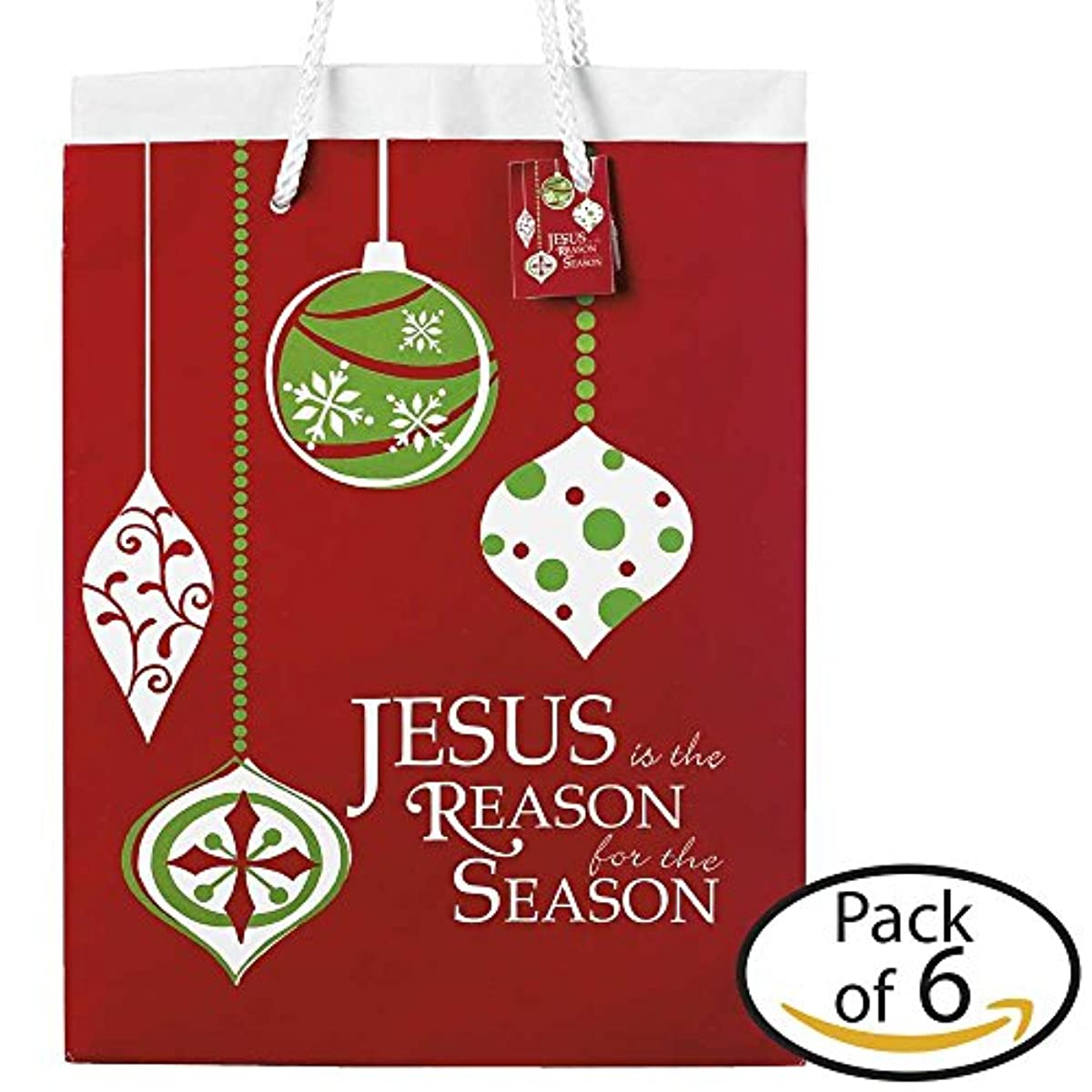 Jesus Is The Reason Cranberry Christmas Medium Tissue Paper and Gift Bags, Pack of 6