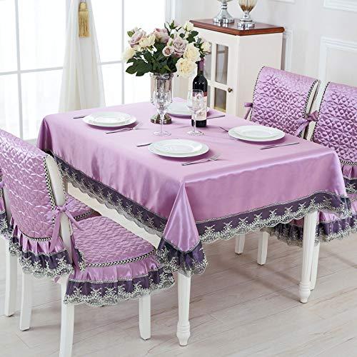 13pcs / set Europea fiesta de la boda Estilo Espesar Mantel for Silla Mesa cover set de lujo Mantel Quality Hotel Manteles Comedor Cocina Tejido ( Color : Purple , Specification : About 130x180cm )