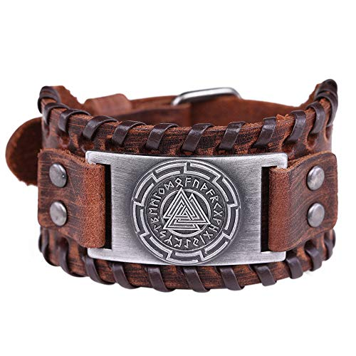 Vintage Amulett Nordic 24 Viking Runen Odins Symbol Valknut Bangle Brown Lederarmband für Männer, Frauen (braunes Leder, antikes Silber)
