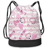 DSGFSQ Sporttaschen Turnbeutel Funny Dance Gift Unisex Drawstring Fashion Beam Backpack Pink Pig...