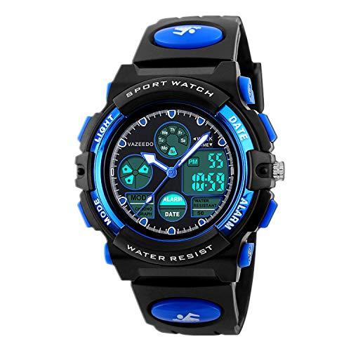 Digital Uhren für Kinder Jungen–50m Wasserdicht Outdoor Sports Analog Armbanduhr mit Alarm/Timer/Dual Time Zone/LED-Licht, Kinder, die elektronische stoßfest Handgelenk Uhren für Junior Jugendliche