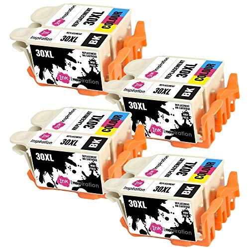 INK INSPIRATION® Ersatz für Kodak 30 30XL 30B 30CL Druckerpatronen 8er-Pack, kompatibel mit Kodak ESP C100 C110 C115 C300 C310 C315 C330 C360 1.2 3.2 3.2S Hero 2.2 3.1 5.1 Office 2150, Schwarz/Farbe