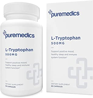 PUREMEDICS L Tryptophan 500mg Capsules - L Tryptophan Supplements to Support Positive Mood and Restful Sleep - Pharmaceuti...