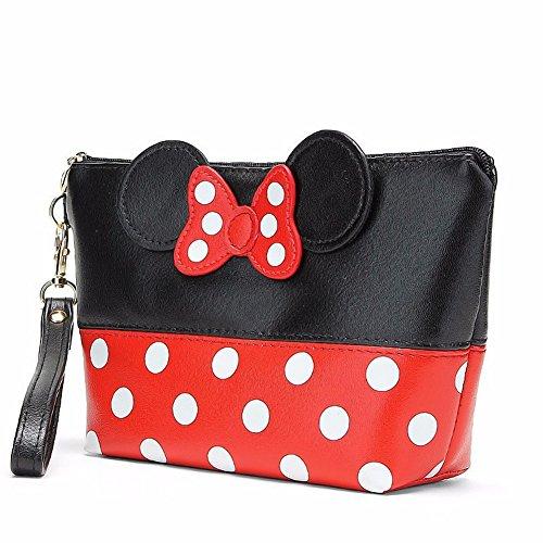 Bolsa de cosméticos con diseño de Minnie Bow Tie, multifunción, bolsa de maquillaje, bolsa de aseo, bolsa de viaje, impermeable, con cremallera, bolsa de almacenamiento para maquillaje
